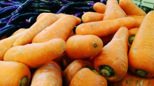 Carrots With Eggplant At Farmer Market