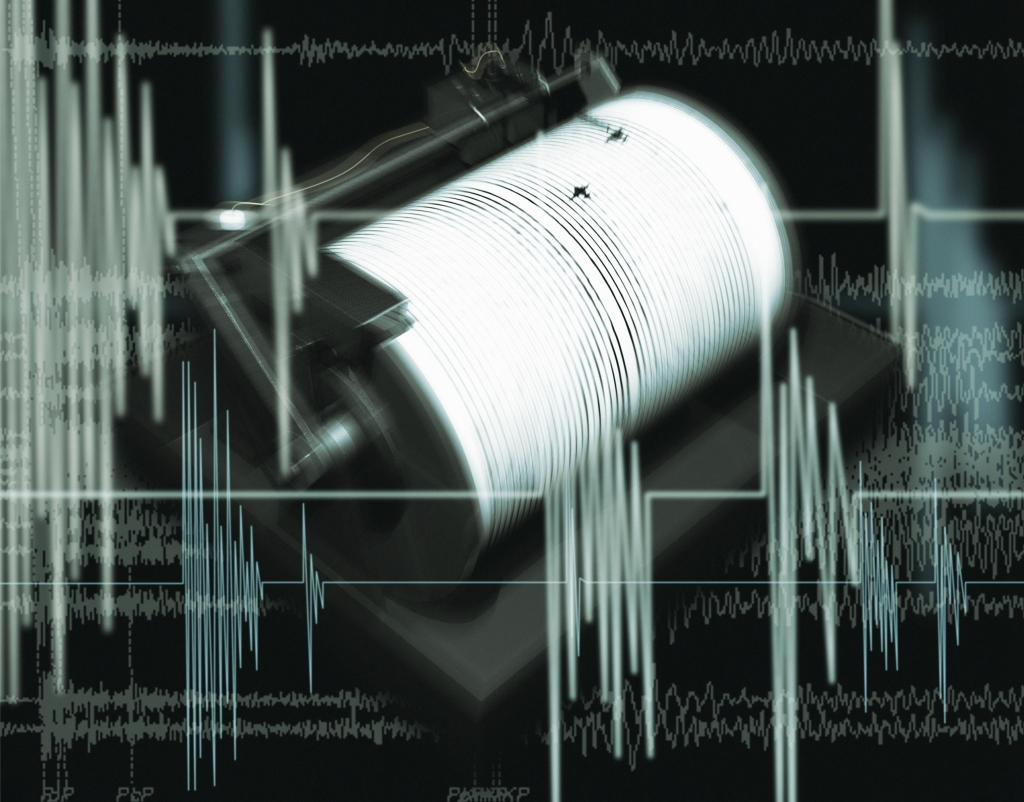 Composite Image of a Chart and a Richter Scale