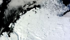 Ice lingering north of the Weddell Sea, east of the Antarctic Peninsula.