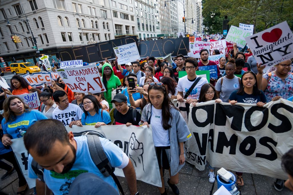 Activists rallied in Columbus Circle and marched from there...