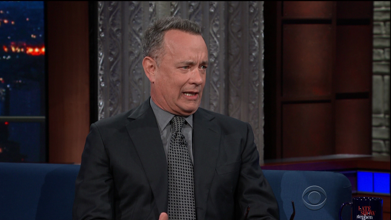 Tom Hanks during an appearance on CBS' 'The Late Show with Stephen Colbert.'