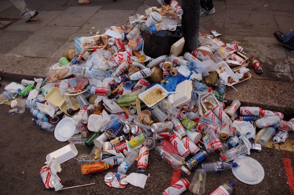 garbage on pavement