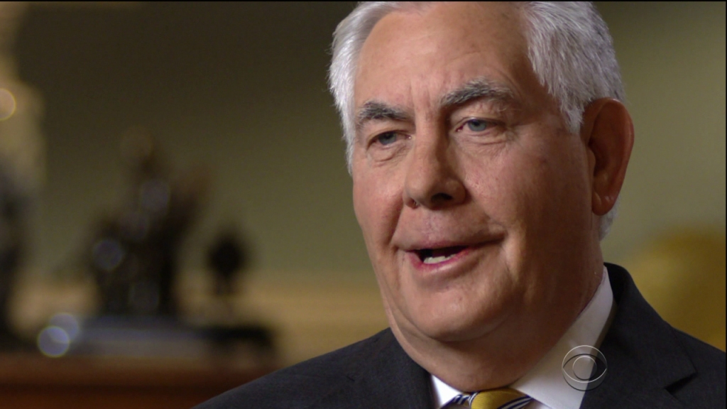 Rex Tillerson during an appearance on CBS' '60 Minutes.'
