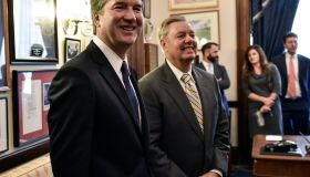 Supreme Court nominee Brett Kavanaugh visits Republicans at the US Capitol, in Washington, DC.