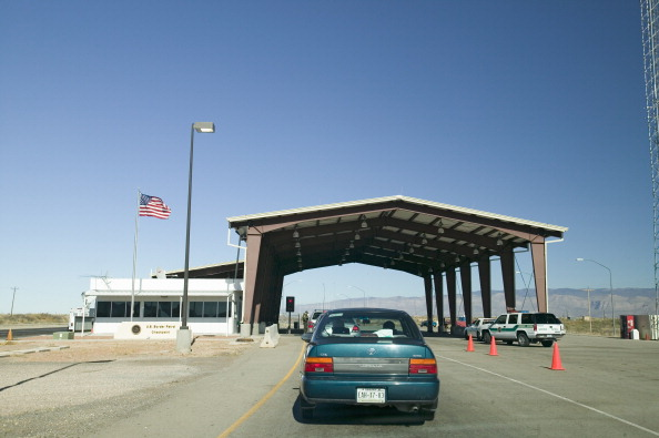 Immigration and Naturalization Service, INS, roadside stop Route 54, in southern New Mexico, in search of illegal immigrants from Mexico and Central America