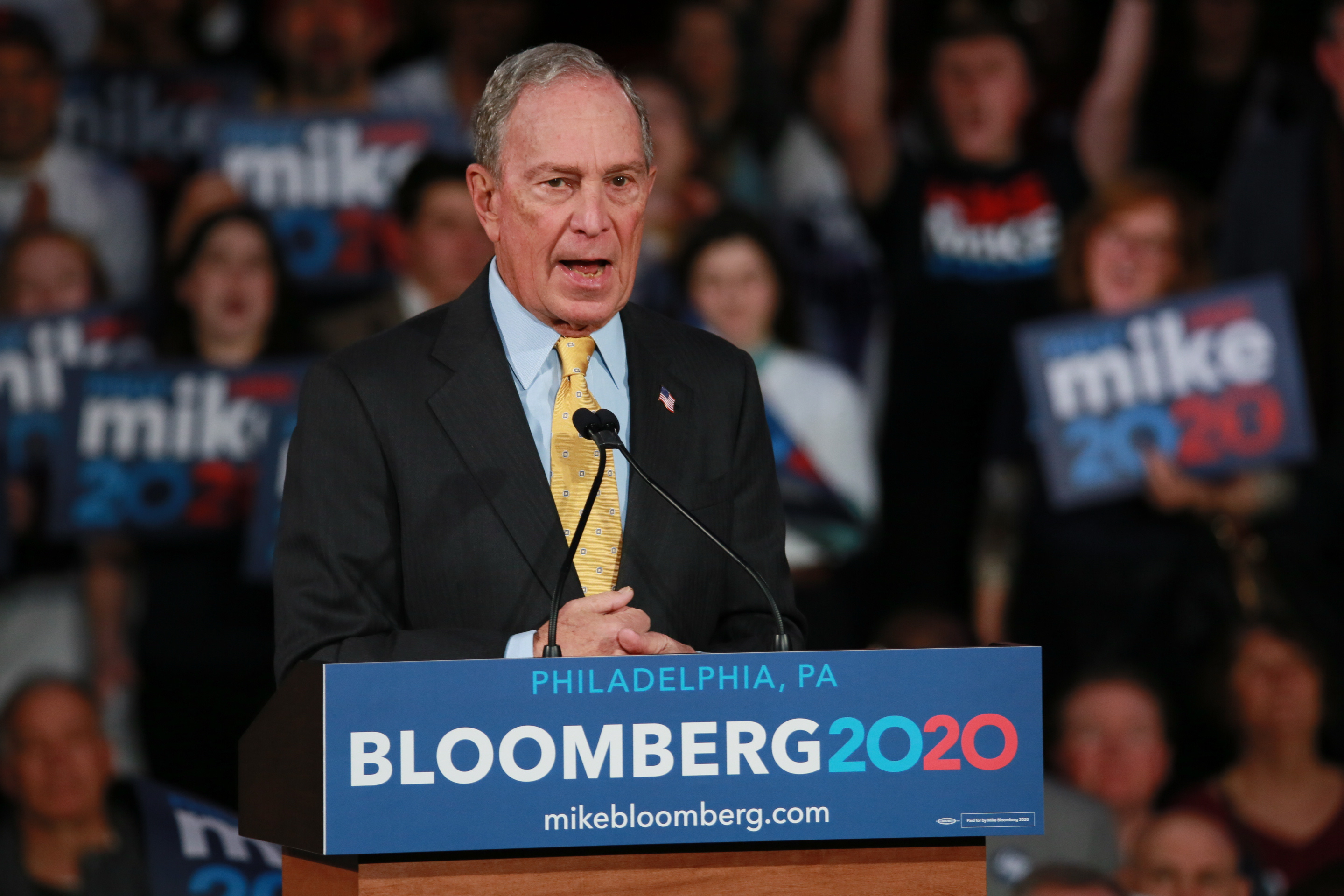 Democratic Candidate Mike Bloomberg made a campaign Stop in Philadelphia at the National Constitution Center on 02/04/2020
