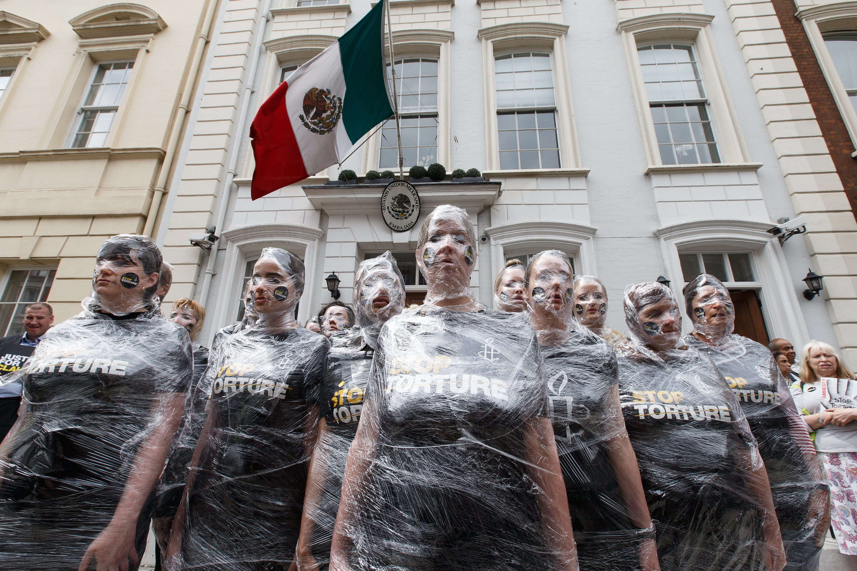 Amnesty International staged a protest against torture in Mexico