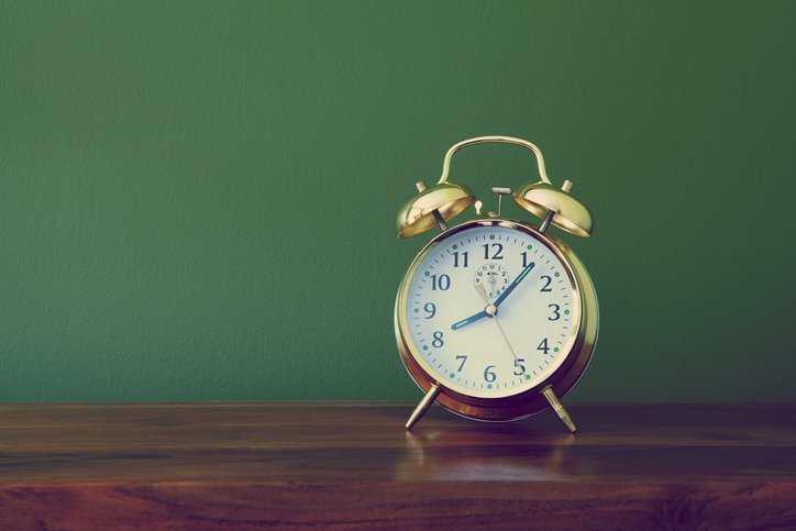 Clock at just past eight o'clock