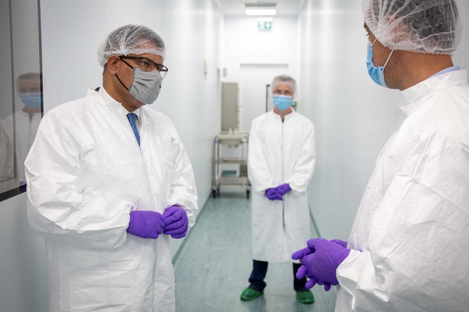 UK Business Secretary Alok Sharma on a visit to Valneva's facility in West Lothian