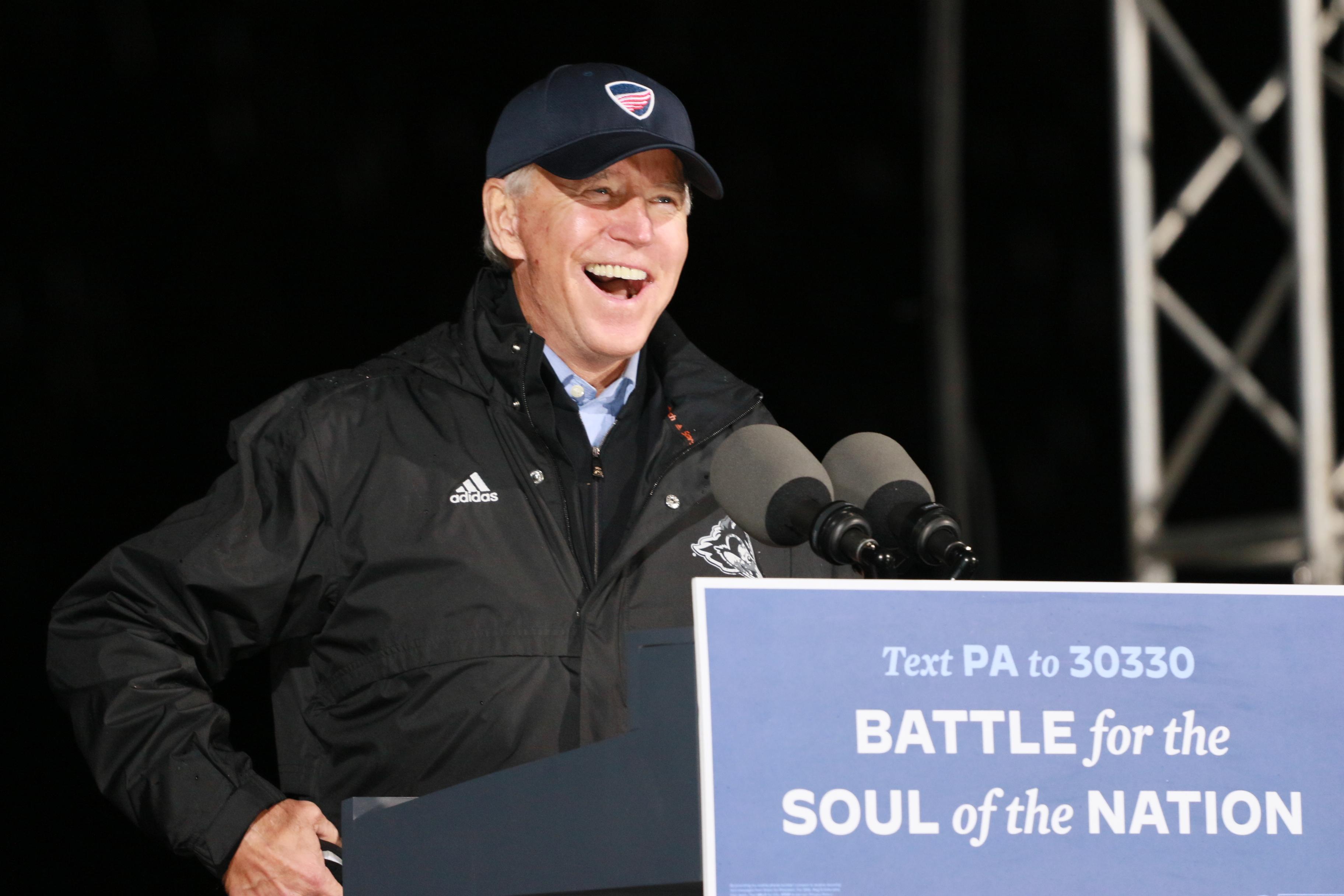 Former Vice President Joe Biden has a Drive thru rally at the Jewish Society Museum in Philadelphia