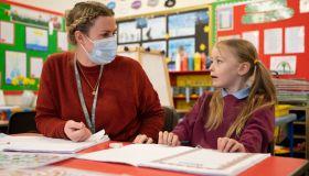 Children Return To Primary School In Wales