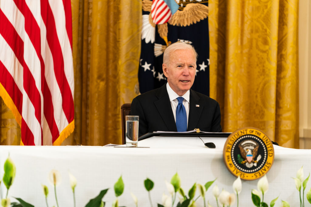 President Joe Biden speaks during a Cabinet Meeting