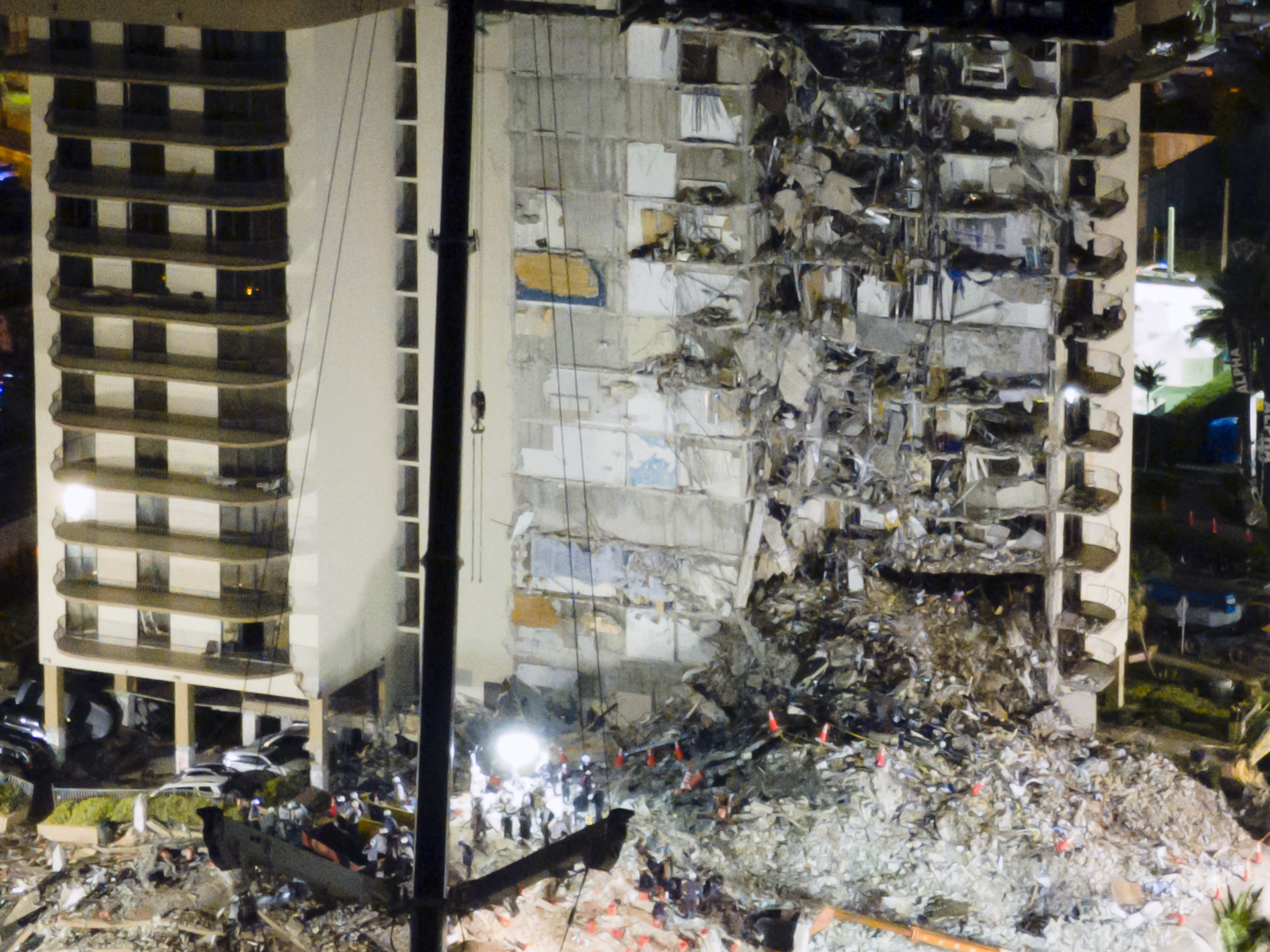 Aerial views aftermath of the partial building collapse in Florida