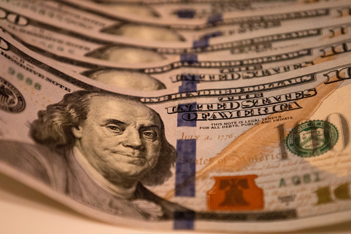 economic stimulus: six crisp $100 bills