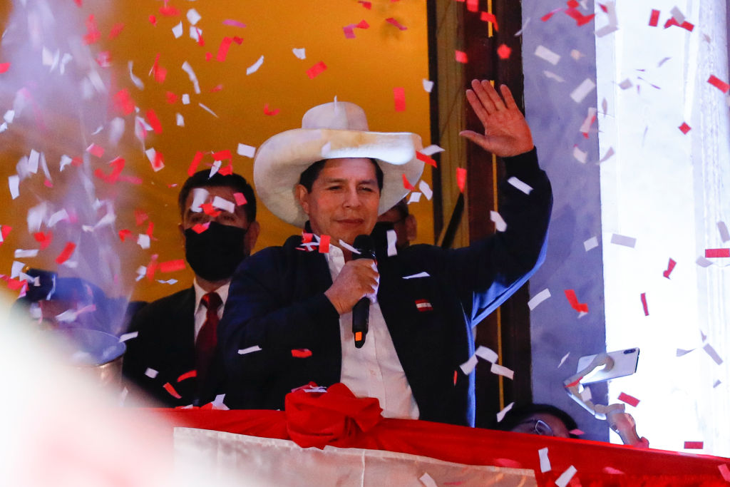 Newly Elected President Pedro Castillo Celebrates Victory After Runoff
