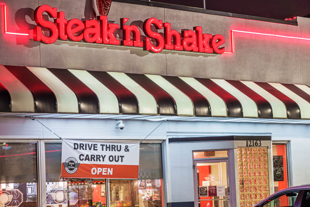Florida, Orlando, Steak'n Shake, fast food restaurant with drive thru and carry out sign