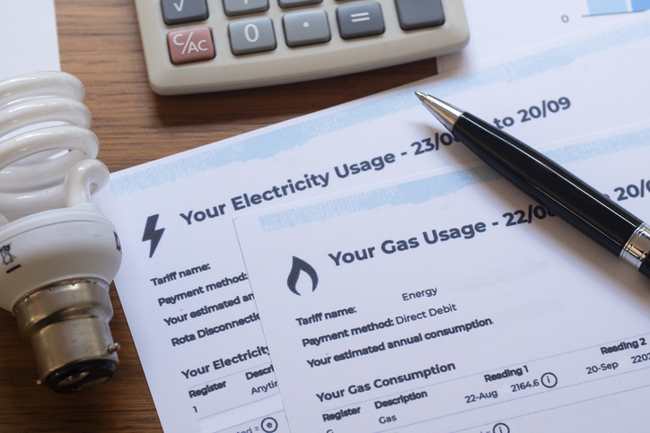 Close-up of Gas and Electric bills.